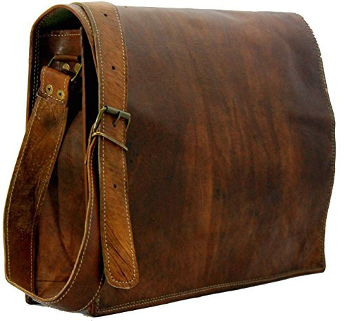 Leather Full Flap Genuine Men's Auth Real Leather Messenger Laptop Briefcase Satchel Mens Bag (10 X 13)