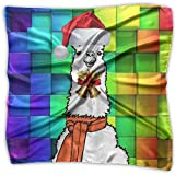 Llama Alpaca Christmas Women's Fashion Print Square Scarf Neckerchief Headdress S