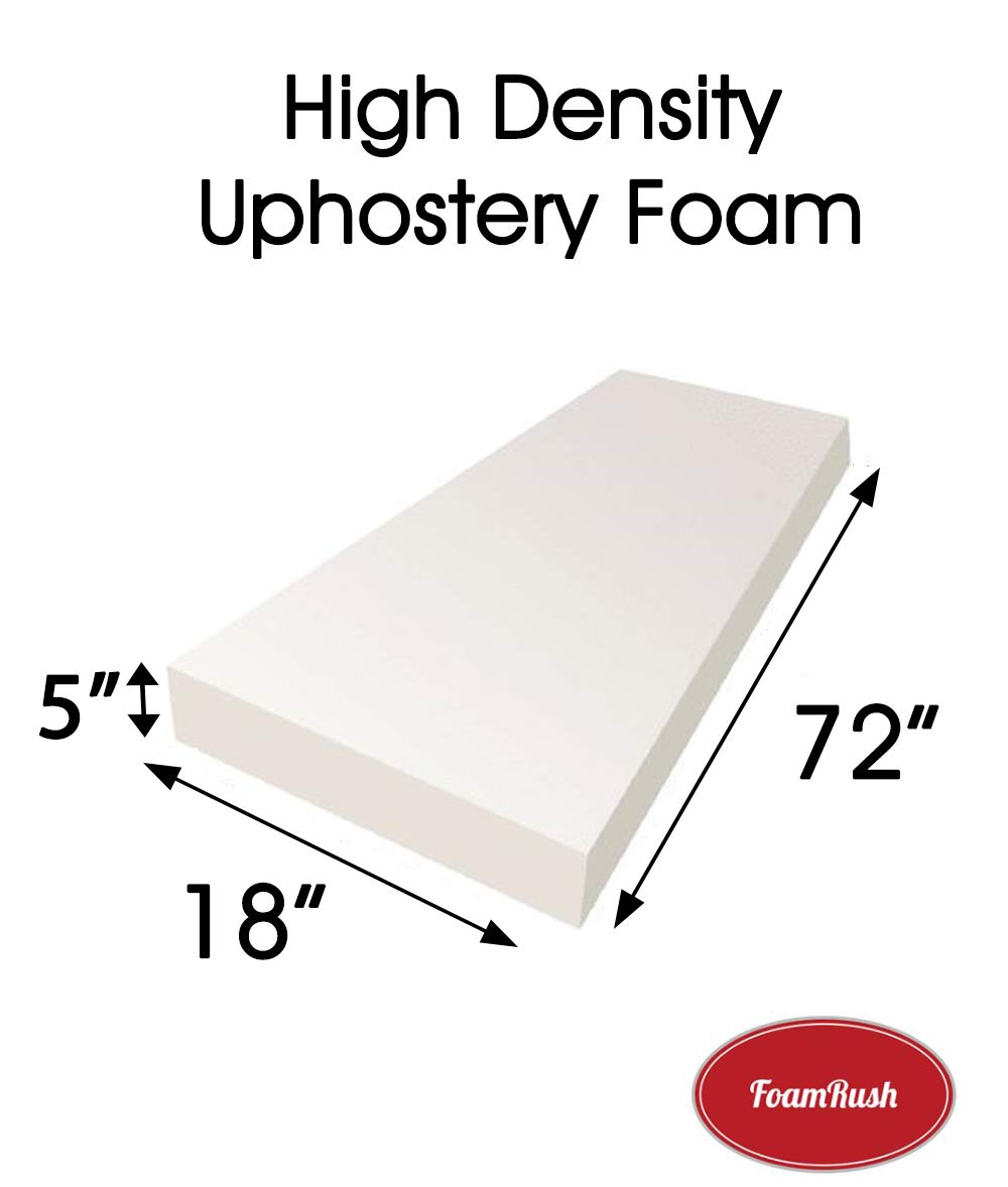 FoamRush 2 H x 18 W x 72 L Upholstery Foam Cushion High Density (Chair Cushion Bench Foam for Dinning Chairs, Bench Seat Cushion Replacement, Foam Rubber Padding)