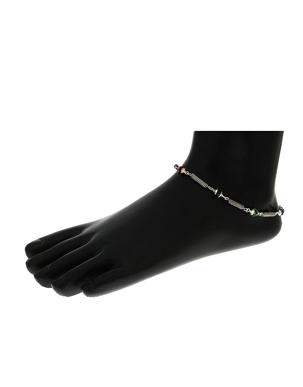 Anuradha Art Silver Tone Wonderful Beads Styled Adorable Designer Anklets//Payal for Women//Girls