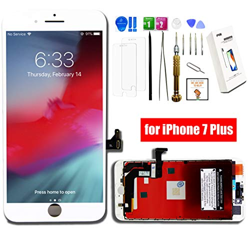 (FVG for iPhone 7 Plus Screen Replacement White (5.5'') HIGH Brightness LCD Display Digitizer Assembly Cracked Glass Repair kit with Full Set Repair Tools and 2 PC Screen Protector and Instruction)