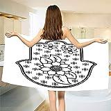 smallbeefly Hamsa Bath Towel Ancient Hand of Fatima with Cute Lotus Blossoms Kabbalah Theme Mehndi Style Artwork Customized Bath Towels Black White Size: W 19.5'' x L 39.8''