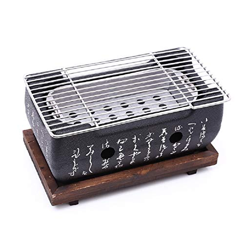 Cast Iron Grill, Table Charcoal Grill Portable BBQ with Wire Mesh Grill and Wooden Base, Camping Cooking Grill (bbq grill (24×12.5cm))
