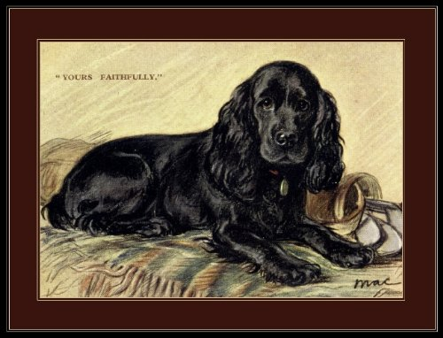 (A SLICE IN TIME Black Cocker Spaniel Puppy Dog laying down Vintage Art Poster Print. Measures 10 x 13 inches.)