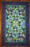 Wall Decor Purple Blue Fabric Wall Hanging, Textile Tapestry Handmade 22 x 35''