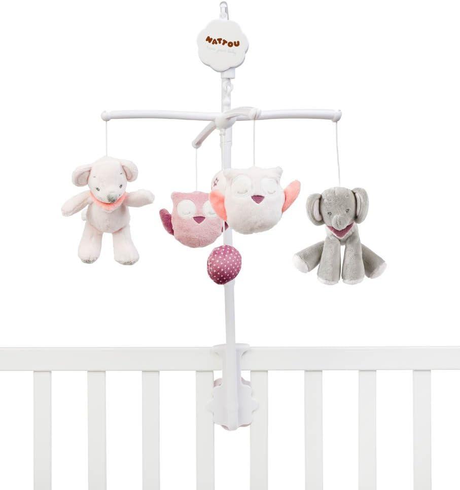 Gris//Rose//Orange 36,5 x 30 x 8,5/cm Berceuse Douce La-Le-Lu Nattou Mini Mobile avec Peluches Musicales Ad/èle et Valentine