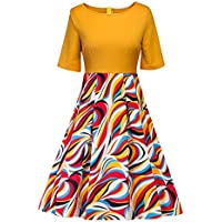 Elogoog Long Skirt Dresses, Women's Vintage Floral Printed Patchwork Half Sleeve Casual Elegant A-Line Evening Party Dress