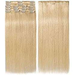 10 inch 70g Clip in Hair Extensions Human Hair 100% Double Drawn Human Hair Extensions 8 Pieces Thick To The End #613 Bleach Blonde