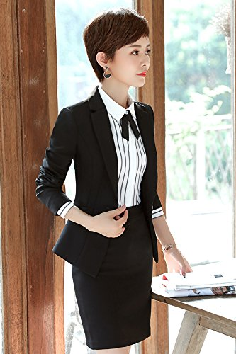 cacb5721be New autumn and winter 2018 women's long sleeve professional suit skirt suit  overalls tooling interview dress