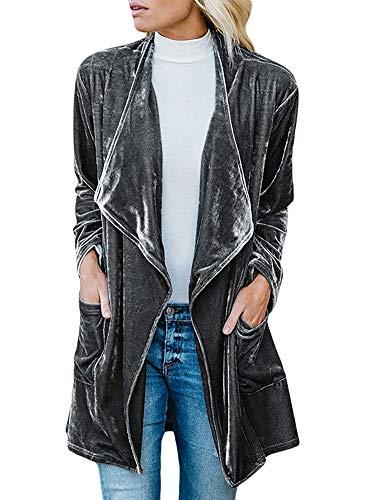 Women Velvet Long Sleeve Big Lapel Pocket Cardigan Turn Down Collar Trench Coat Grey L