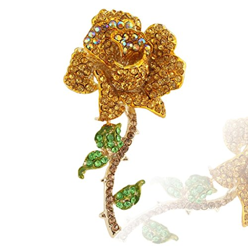 Rose Topaz Brooch - EVER FAITH Women's Austrian Crystal Blooming Rose Flower Leaves Brooch Topaz-Color Gold-Tone