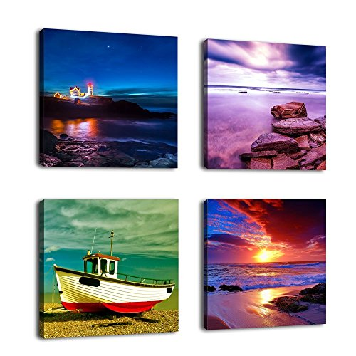 Canvas Prints Sunset Sea Beach Painting Print on Canvas Framed and Ready to Hang - 12