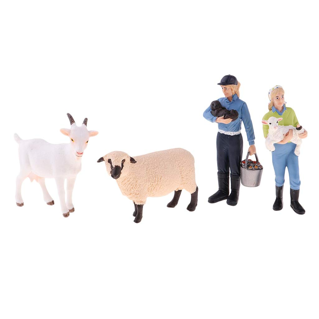 Hand Painted Realistic Farm Animal Figures Set Includes Farmer Sheep Cow Model Dollhouse Mini People Figures Model Collectible Cool Must Haves Unique Gifts Favourite Movie Superhero Unbox Switch by VIDANL