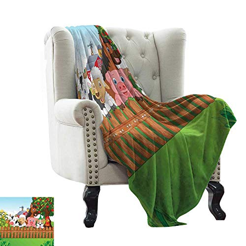 (Warm Blanket Cute Farm Animals on The Fence Comic Mascots with Dog Cow Horse for Kids Decor Anti-Static Throw 36
