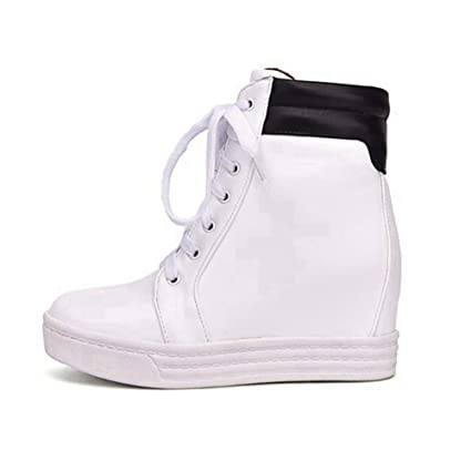 7a30d87c8 Amazon.com: U-MAC Womens Platform Wedge Sneakers Lace Up Shoes for Girls  High Top Wedge Heels Anti Slip Wear Plus Size White: Sports & Outdoors