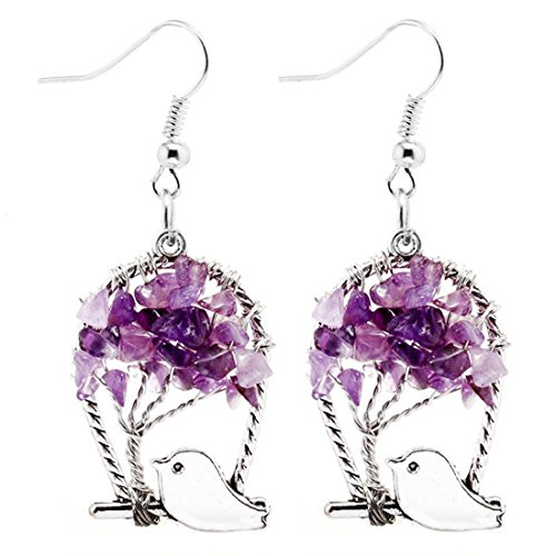 ZUOBAO Handmade Wire Wrapped Quartz Chips Tree Earring with Tiny Bird / Healing Jewelry Gift for Family (Earring - Amethyst) - Handmade Wire Wrapped Earrings
