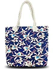 Beach Tote Bag, Hand Bag, ANGUO Large Size Canvas Shopping Bag Large Size with Cotton Rope Handle(Blue floral)