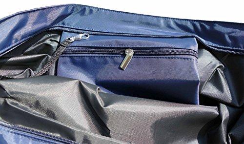 Shopper /Schultertasche / Einkaufstasche / Tragetasche / Umhängetasche aus Nylon in Navyblau - Größe 43x33cm - Motiv: Chihuahua braun liegend vor weißem Hintergrund - 02