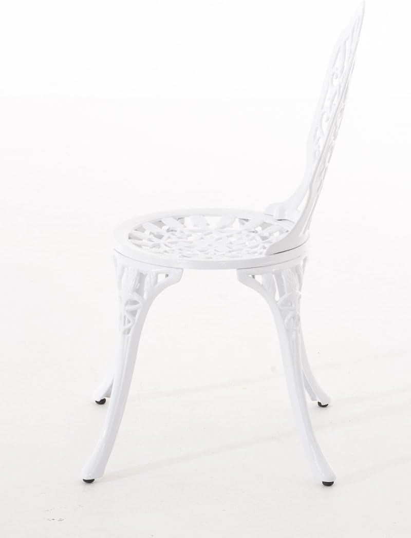 Sedia in Metallo Stile Antico Nostalgico CLP Sedia da Giardino LAXMI Stile Shabby Sedia Outdoor in Alluminio Pressofuso Sedia Balcone Bianco Sedia Bistrot Decorativa