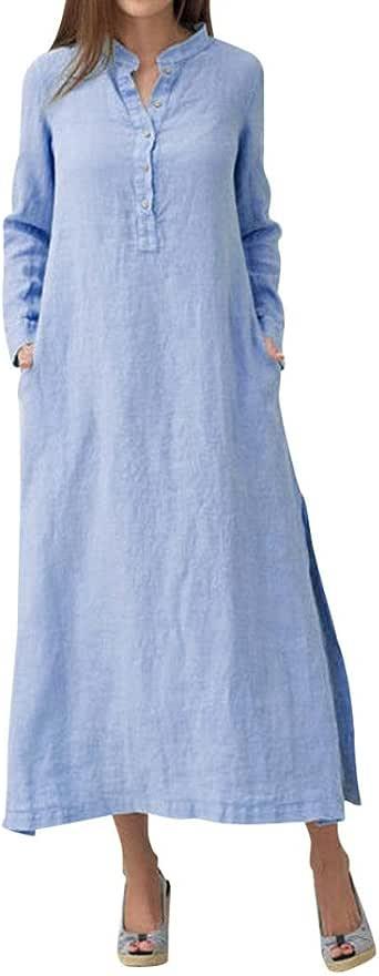 DOGZI Vestido Largo Camisa Larga de Algodón Kaftan Manga Larga de Casaul Ocasional Mujeres Vestido 2018 Vestido Vestido Largo Elegante De La Ceremonia De CóCtel: Amazon.es: Ropa y accesorios