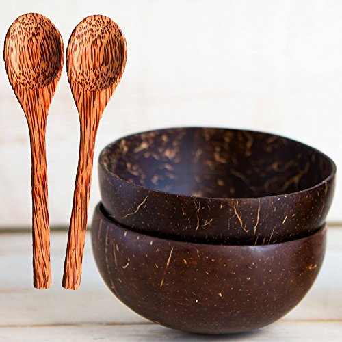 Natural Smoothie Coconut Bowls and Spoons (set of 2) - Polished with Coconut Oil, Durable, Lightweight, Useful, Large Wooden Serving Bowl for Salads, Breakfast, Decoration, Vegan Organic (Shell Salad Serving Spoon)