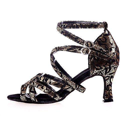 Sandalias de Mujer Salsa Latón Practice Q Zapatos Tango Baile Indoor Tacón Acanalado Flocado de Negro Performance Latinas Negro Marrón T de T Swing Jazz wcaXYq7Y