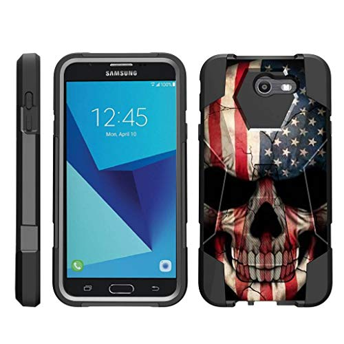 - TurtleArmor | Compatible for Samsung Galaxy J7 2017 Case | J7 Prime | J7 Sky Pro [Dynamic Shell] Hybrid Dual Layer Hard Shell Kickstand Silicone Case - US Flag Skull