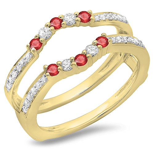 DazzlingRock Collection 0.50 Carat (ctw) 10K Yellow Gold Ruby & White Diamond Wedding Band 5 Stone Guard Ring 1/2 CT (Size 9.5) - Ruby Bridal Ring Guard