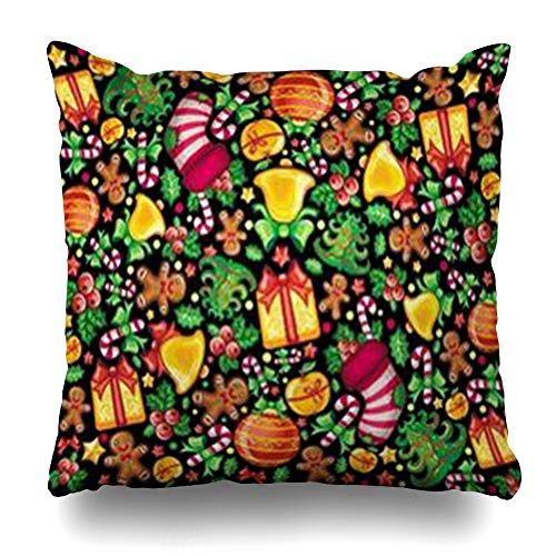Cover Pillowcase Stocking Yellow Pattern Cute Christmas Holidays Design Xmas Candy Bow Abstract Bell Hat Zippered Square Size 16 x 16 Inches Home Decor Cushion Case ()