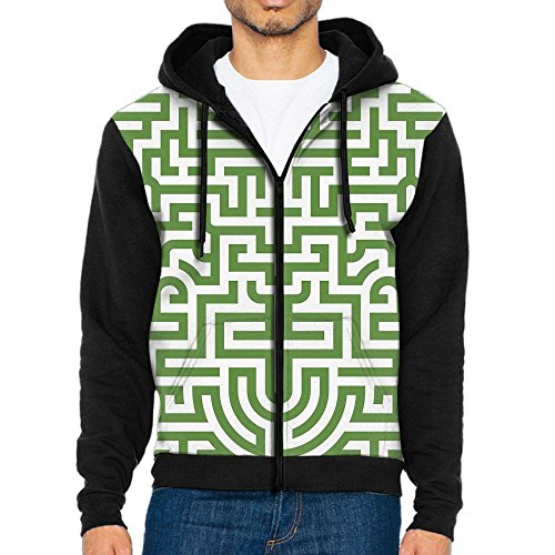 Decagon Print Jacket (Men 3D Graphic Sweatshirts Green Labyrinth Awesome Zip Up Jacket)