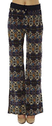 Golden Black Women's Chevron Tribal Print Drawstring Waist Palazzo Pants 188,Taupe Diamonds,Large