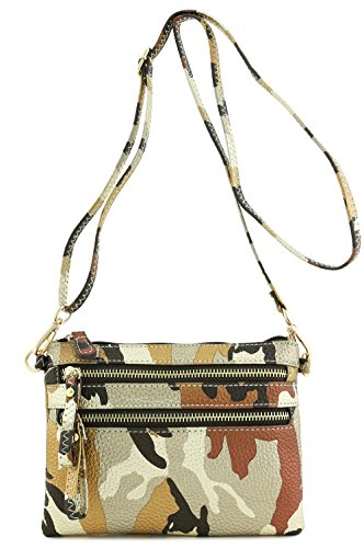 - Multi Zipper Pocket Small Wristlet Camouflage Crossbody Bag (Metallic Brown/Gold Camo)