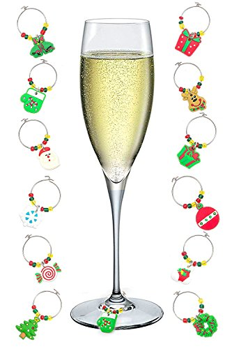 Wine Stem Glass Charms Tags Ring Markers - Set of 12 - Christmas Holiday Theme (A&B)