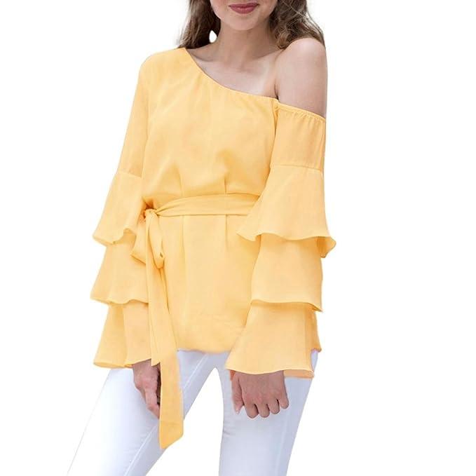 Cinnamou Camisa de Gasa con Hombros Descubiertos y Blusa Casual Camisa de Blusa Suelta con Hombros