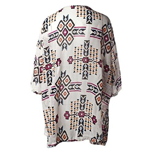 Tonsee® Femmes géométrie imprimé mousseline de soie châle Kimono Cardigan Tops couvrez-vous Blouse