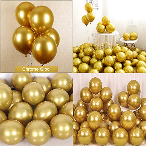 kenandtom Chrome Metallic Balloons for Party 50 pcs 12 inch Thick Latex Balloons for Birthday Wedding Engagement Anniversary Christmas Festival Picnic or Any Friends & Family Party Decorations-Gold