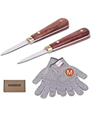 Oyster Shucker,Oyster Knife,SPEENSUN Oyster Shucking Knife with Wooden Handle Full Tang Not Easy to Break and Bend More Secure with Oyster Shucking Glove (2 Knife and 1Glove M)