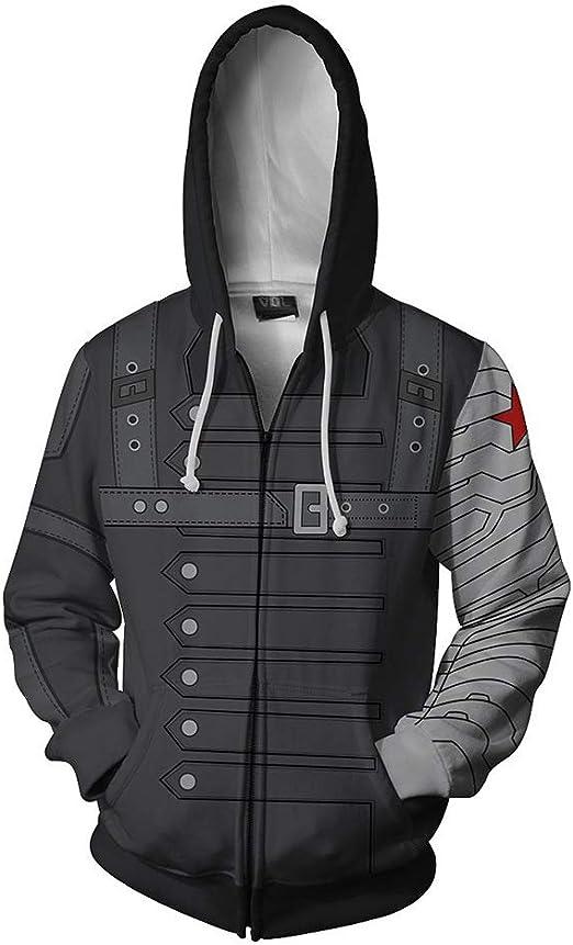 Infinite War Winter Soldier hoodie Sweatshirt Cosplay Costume zip up coat jacket