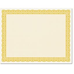Gold Ambassador Certificate, 25 count, 8.5 x 11 inches on 80lb Paper