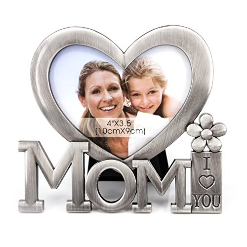 QTMY Mom I Love You Heart Shape Metal Picture Frame Desktop Decor from Daughter Son for Mother's Birthday Day Gift (1)