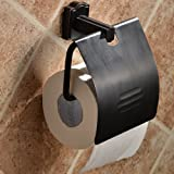 Wall Mount Solid Brass Toilet Roll Paper Holder with Cover Single Handle Bathroom Accessory Toilet Tissue Holder Oil Rubbed Bronze Finish