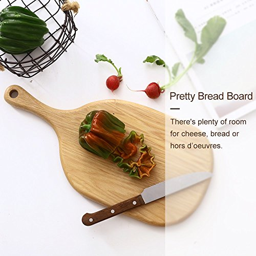Wooden Cheese Crackers Serving Board With Handle, Small Pizza Stone Peel Chopping Paddle Cutting Slicing Platter For Cake Bread Sushi Crackers Biscuits Fruits Meat (Walnut, 17x6 Bread Board)