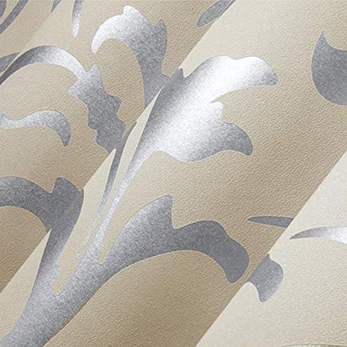 Elaco Home Sticker, 10M Luxury Silver 3-d Victorian Damask Embossed Wallpaper Rolls Home Art Decor
