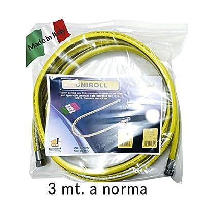 3 Metri Tubo Flessibile 12 Ff Gas Inox A Norma En 15266 3 Mt Per