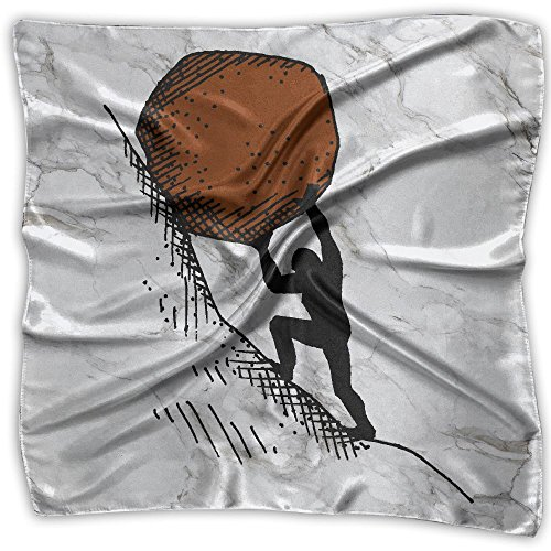 Stick Figure Pushing Huge Rock Up The Hill Fashion Women's Silk Neckerchief Square Scarf Headdress Satin Neck Headscarf
