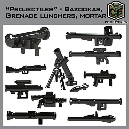 CombatBrick Bazookas, Grenade launchers, Mortar Accessories lot. Projectiles 16 Parts Set in Black. Custom Brick Builder ()