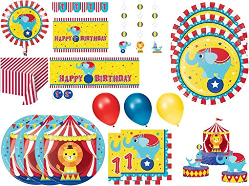 Circus Carnival 1st Birthday Party Supplies Kit - Tableware Plates and Napkins for 24 Guests - Table Covers, Giant Banner, Danglers, Centerpieces and Balloon Decorations for Animal Themed Circus Party