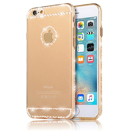 "Sunroyal iPhone 6 6S 4.7"" Hülle Gold TPU Case Schutzhülle Silikon Rückseite Klar Clear Case Durchsichtig Bumper Zurück Bling Crystal Kirstall Diamant Strass Rhinestone Frame Rahmen"