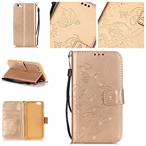 iPhone 7 Plus Hülle, Moonmini Ultra Slim Flip PU Leder Diamant Strass Lederhülle mit Lanyard für Apple iPhone 7 Plus - Golden