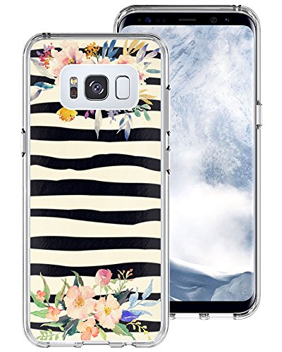 S8 Case Zebra,Gifun [Anti-Slide] and [Drop Protection] Soft TPU Protective Case Cover for Samsung Galaxy S8 5.8 inch (2017) - Black Zebra Flowers